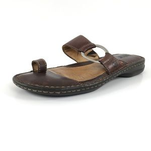 Born Toe Ring Flip Flops Silver Side Ring Brown